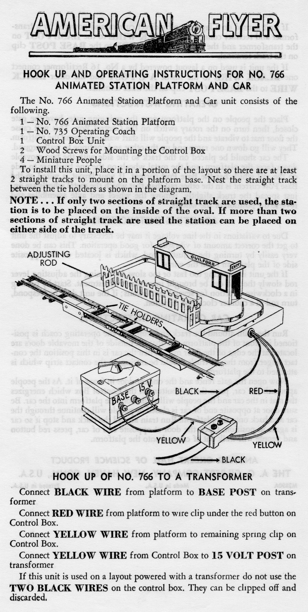 Hook Up and Operating Instructions for No. 766 Animated Station Platform & Car - Page 1