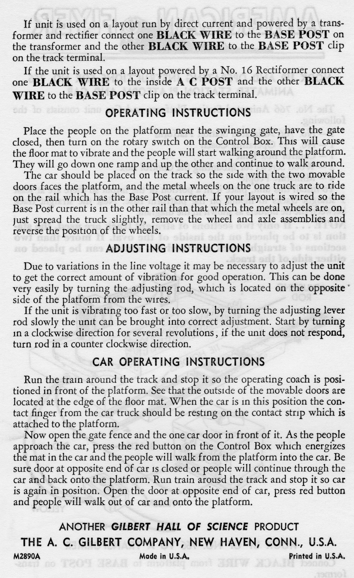 Hook Up and Operating Instructions for No. 766 Animated Station Platform & Car - Page 2