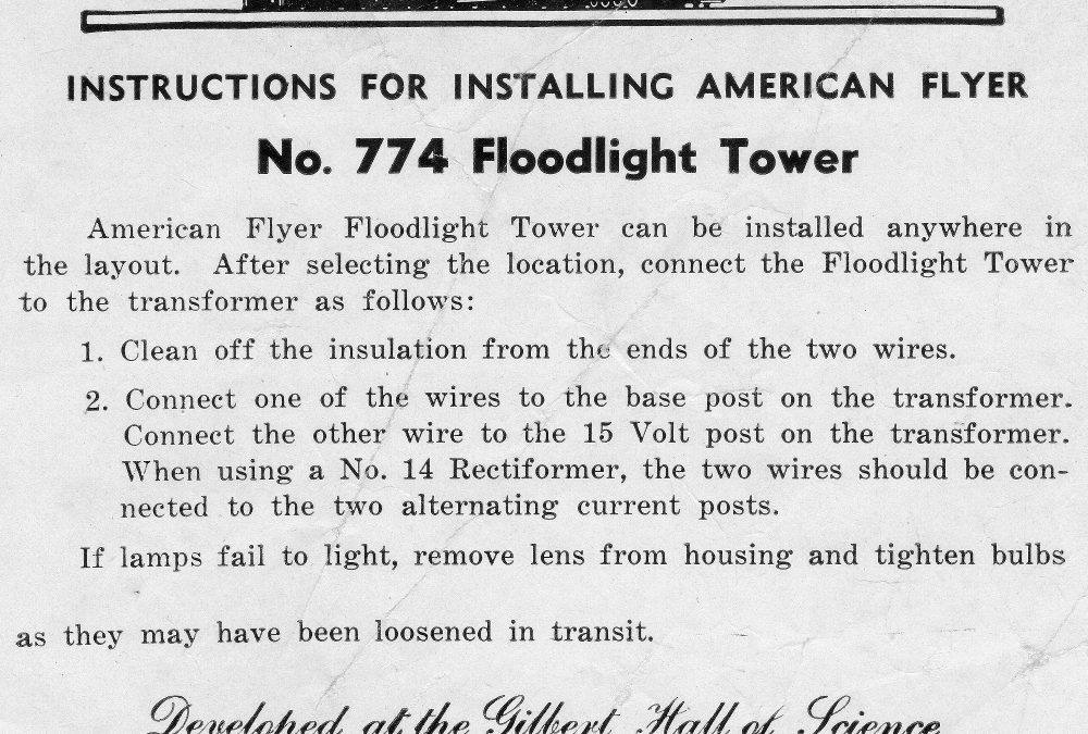 American Flyer Floodlight Tower 774 Instructions