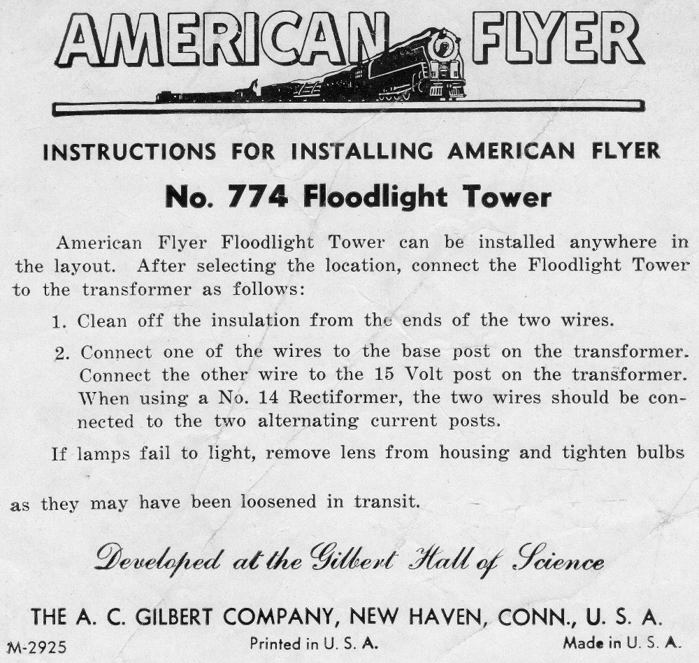 Instructions for Installing American Flyer No. 774 Floodlight Tower