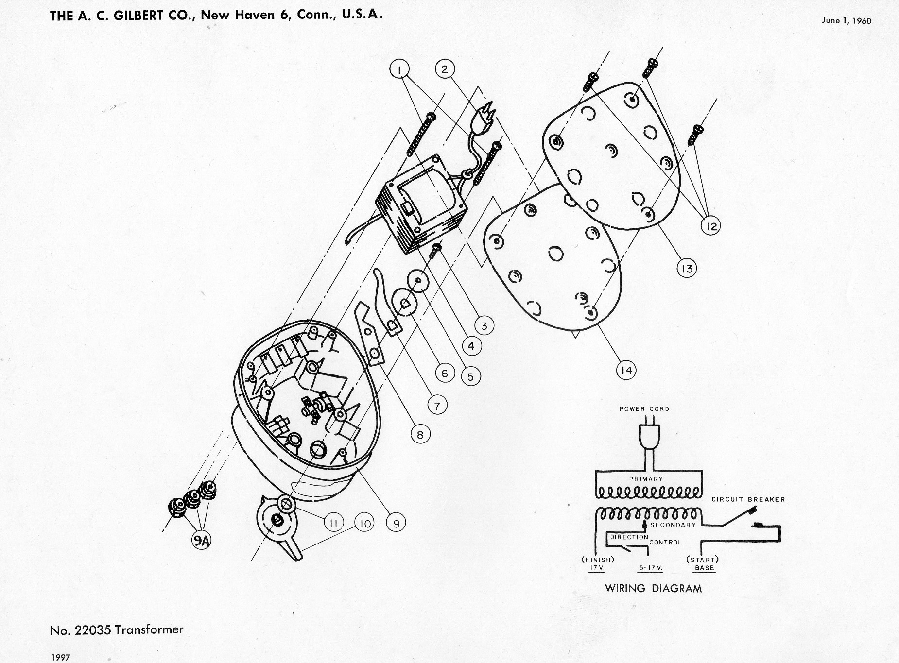 American Flyer Transformer 22035 Parts List  U0026 Diagram