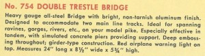 American Flyer Trestle Bridge 754 Catalog Description - 1951