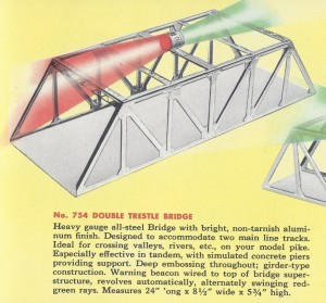 American Flyer Trestle Bridge 754 Catalog Description - 1952