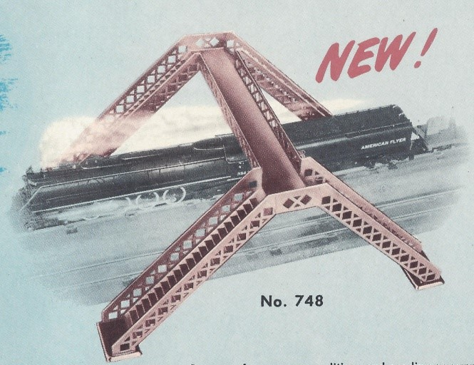 American Flyer Overhead Foot Bridge No. 748 Catalog Image - 1951