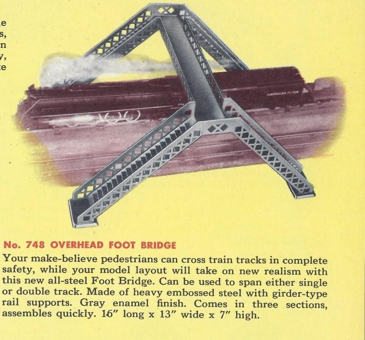 American Flyer Overhead Foot Bridge No. 748 Catalog Image - 1952