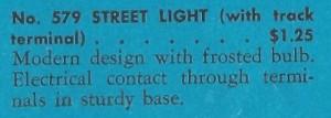American Flyer Street Light 579 - 1941 - Catalog Description