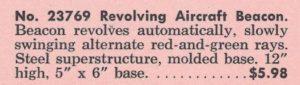 American Flyer No. 23769 Revolving Aircraft Beacon (Catalog Description) - 1964