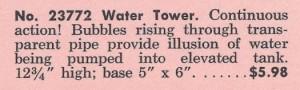 American Flyer No. 23772 Water Tower - 1964 (Catalog Description)