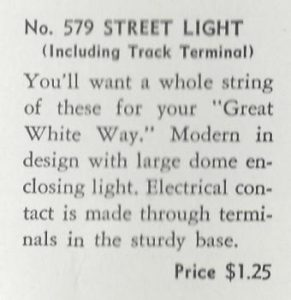 American Flyer No. 579 Single Street Lamp - 1940 (description)