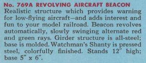 American Flyer No. 769A Revolving Aircraft Beacon (Catalog Description) - 1954