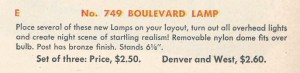 No. 749 Boulevard Lamp - 1950 (catalog description)