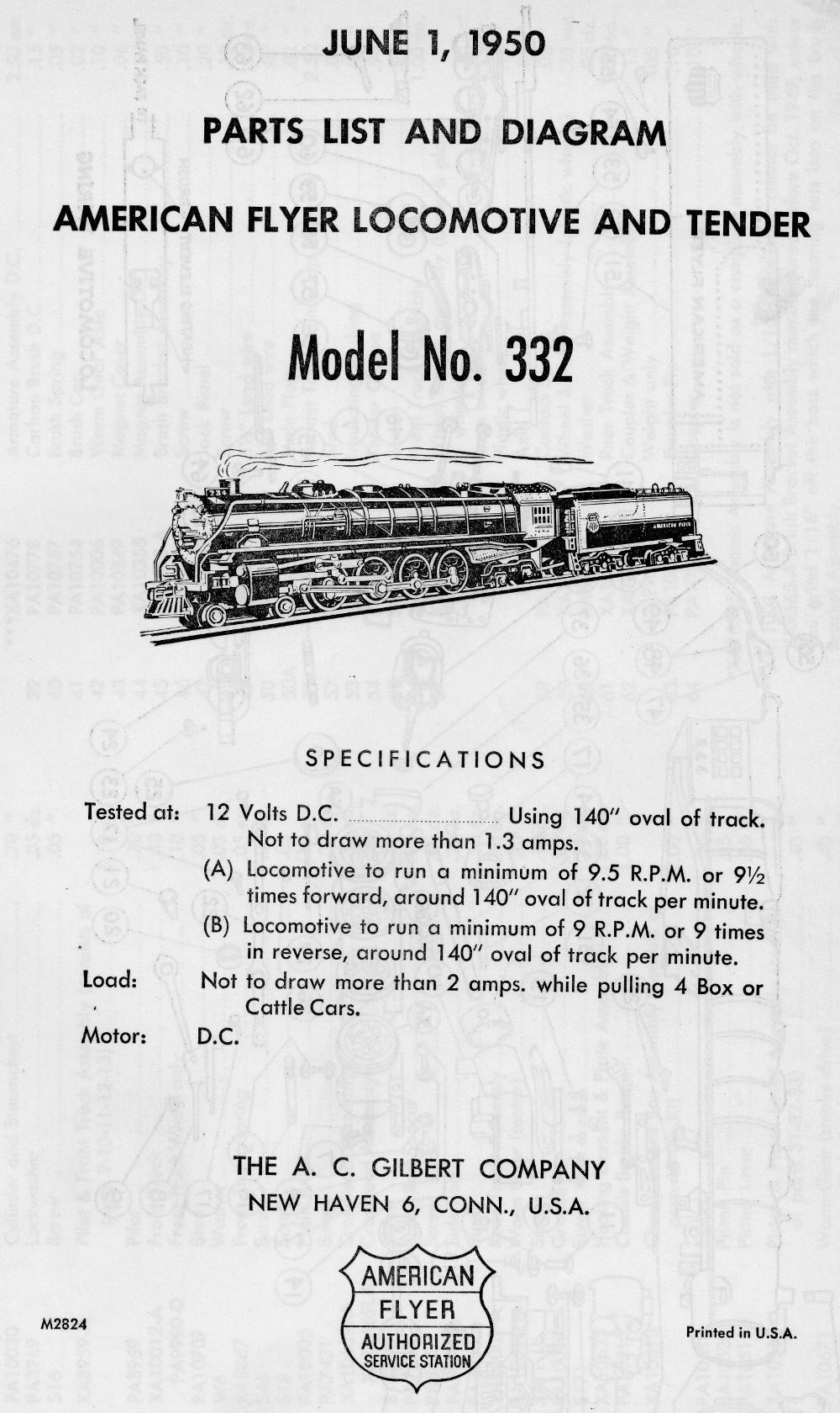 American Flyer Locomotive 332 Parts List and Diagram