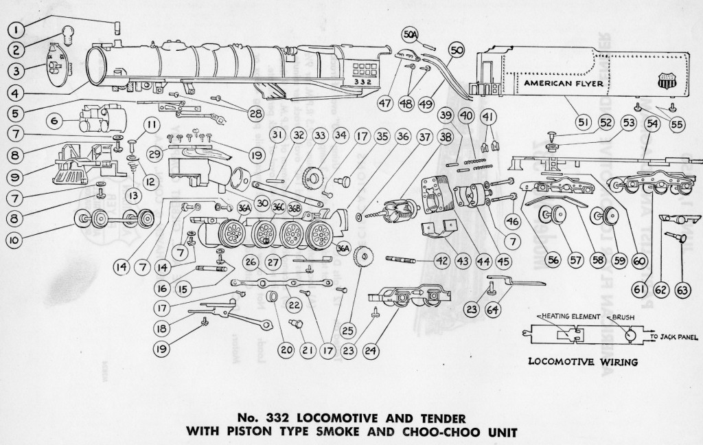 American Flyer Locomotive 332 Parts List and Diagram | TrainDR on american repair service flyer, american flyer smoke unit repair, american auto wire diagrams, american flyer accessories, american flyer track plans, american flyer logo, dodge truck electrical diagrams, american flyer s gauge layouts, american flyer knuckle couplers, american flyer parts diagrams, american flyer dealer display, american flyer reverse unit, american flyer trains, pinout diagrams, american flyer locomotive diagram, cable reeving diagrams, american flyer s gauge track,
