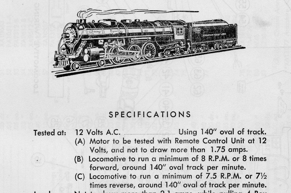 American Flyer Locomotive 322 Hudson Parts List