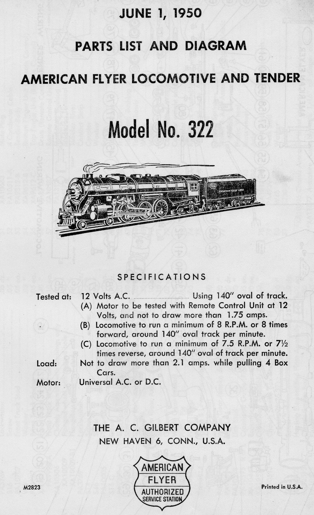 American Flyer Model 322 Parts List and Diagram