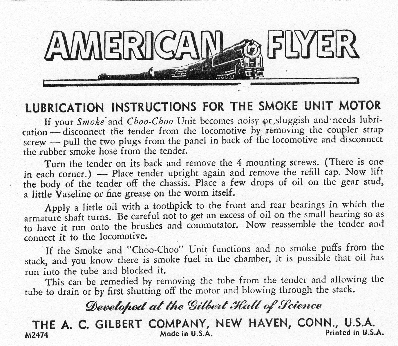 Lubrication Instructions for the Smoke Unit Motor