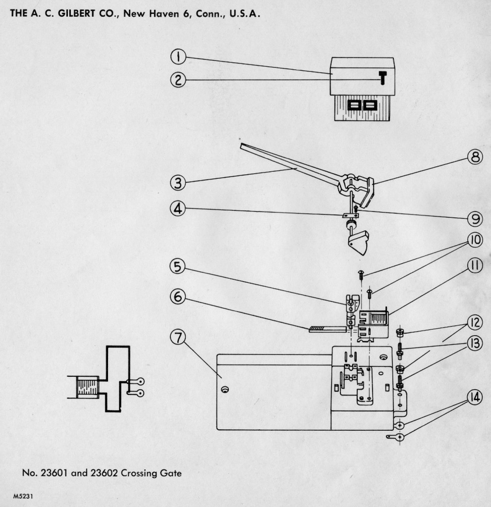 American Flyer Crossing Gate 23601 & 23602 Parts List and Diagram
