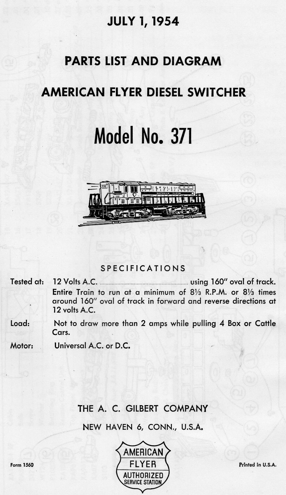 American Flyer Diesel Switcher No. 371 Parts List & Diagram - Page 1