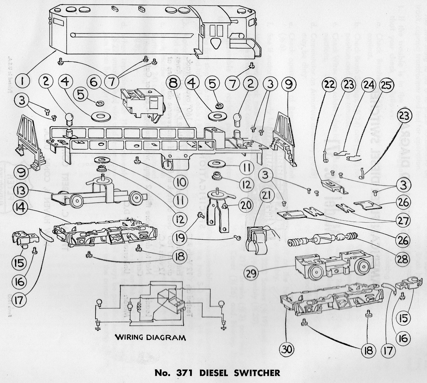 American Flyer Diesel Switcher No. 371 Parts List & Diagram - Page 2