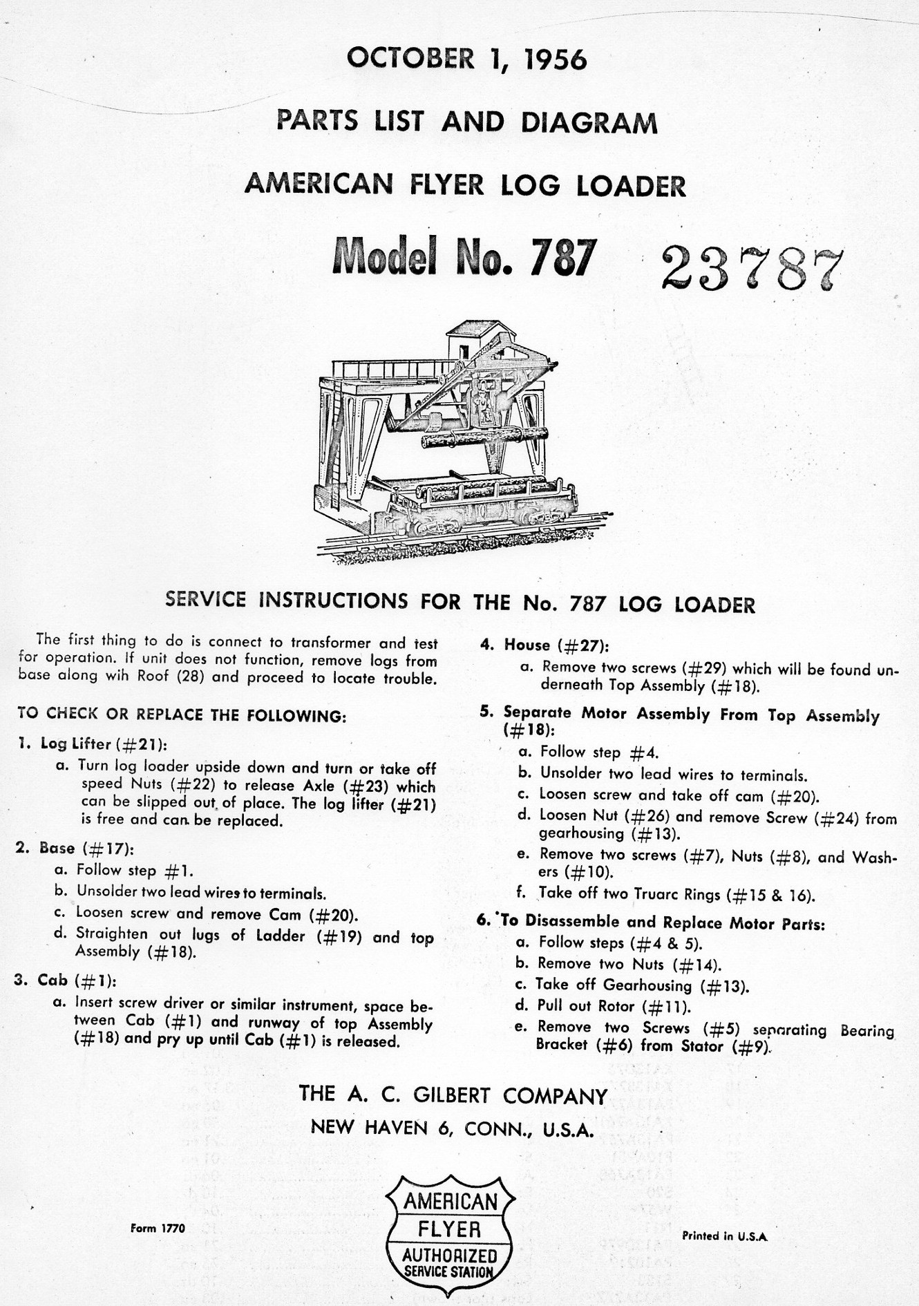American Flyer Log Loader No. 787 Parts List and Diagram - Page 1