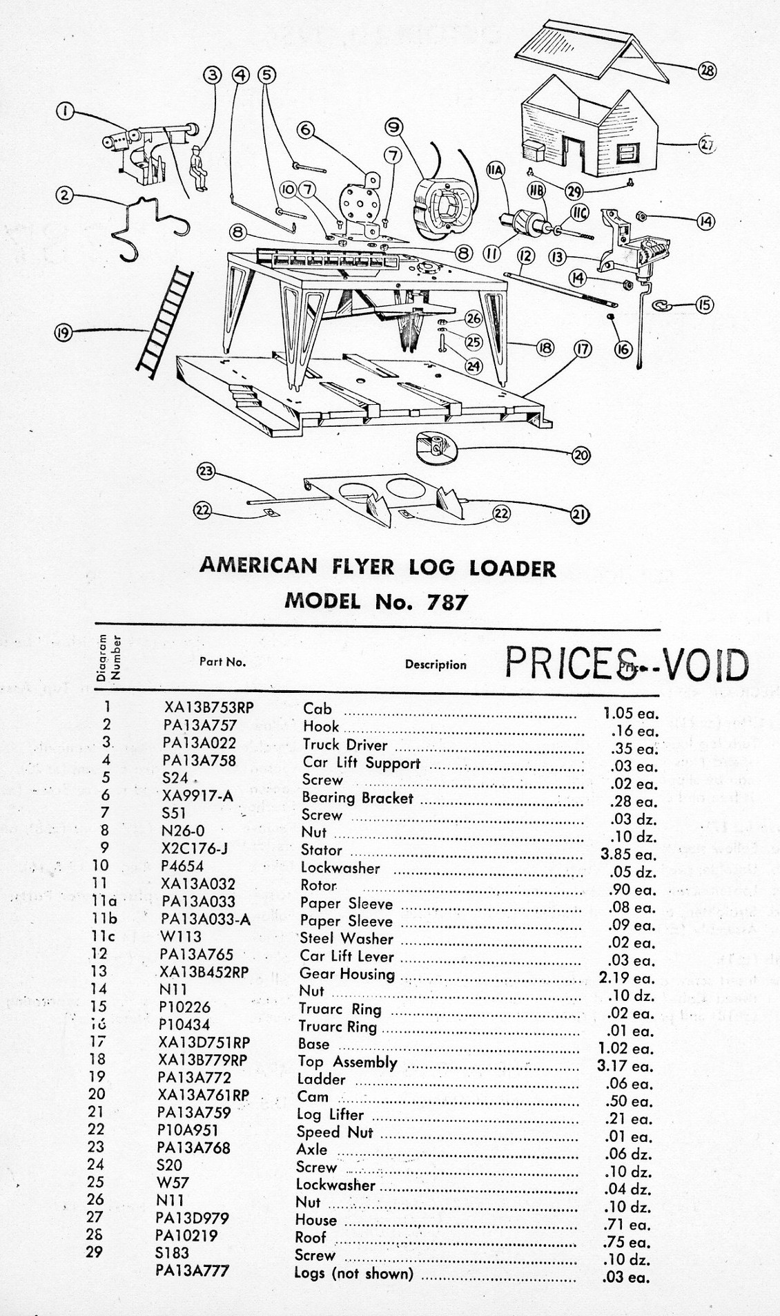 American Flyer Log Loader No. 787 Parts List and Diagram - Page 2