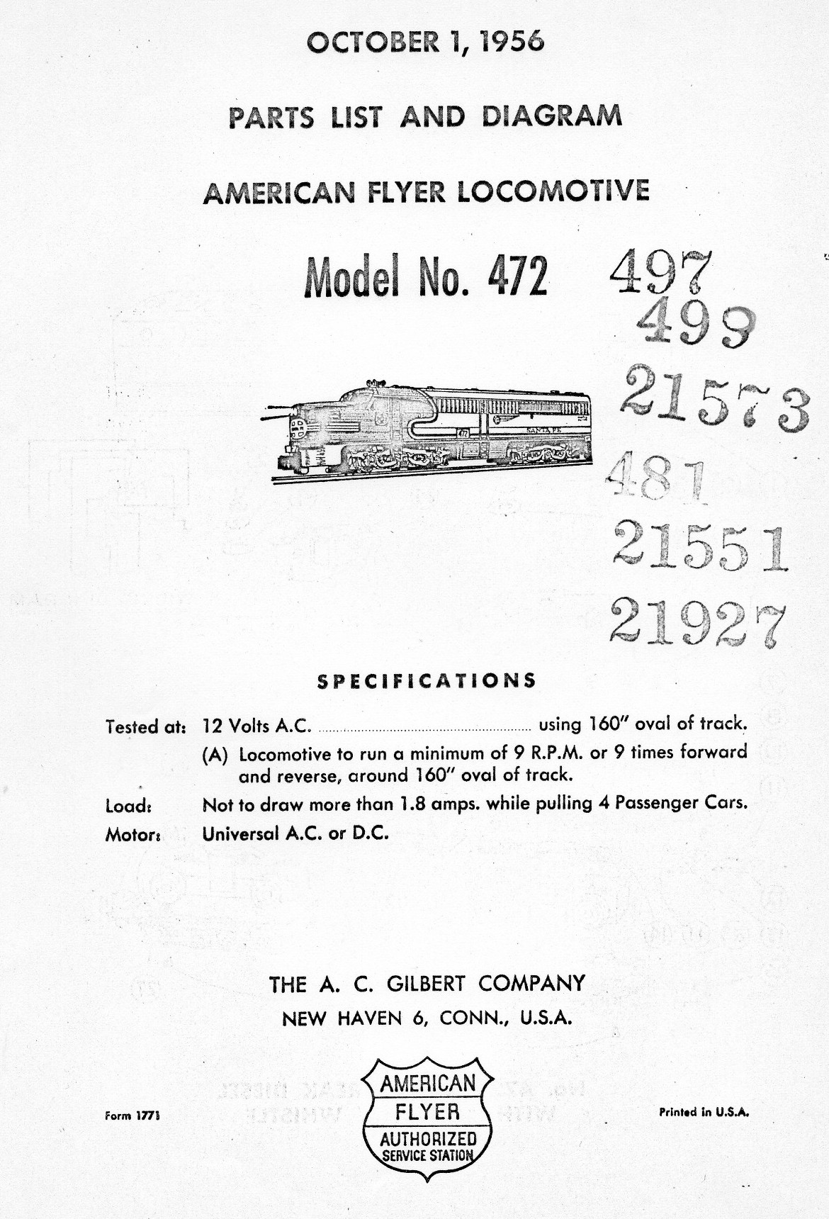 American Flyer Locomotive 472 Parts List & Diagram - Page 1