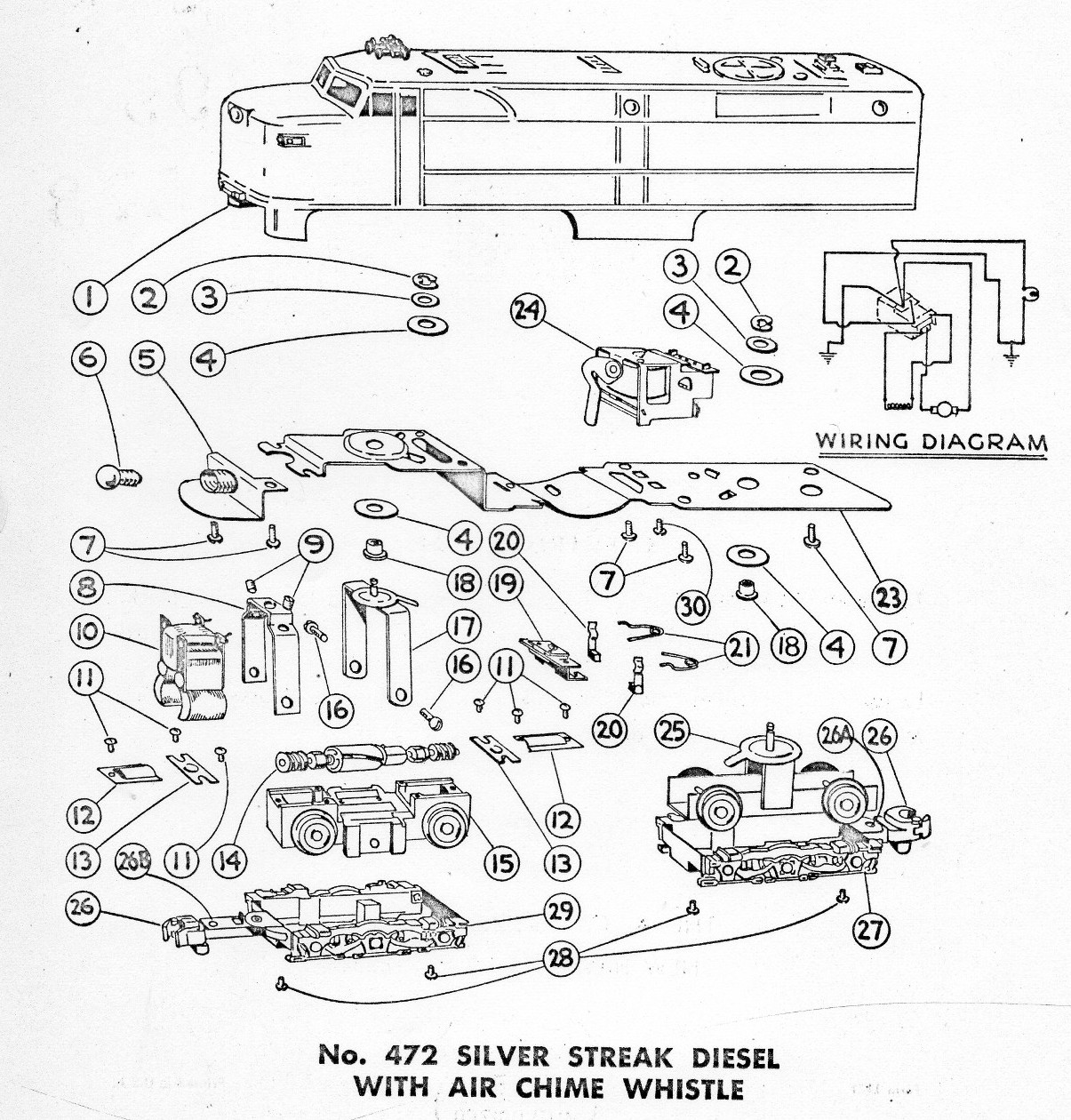 american flyer locomotive 472 parts list  u0026 diagram
