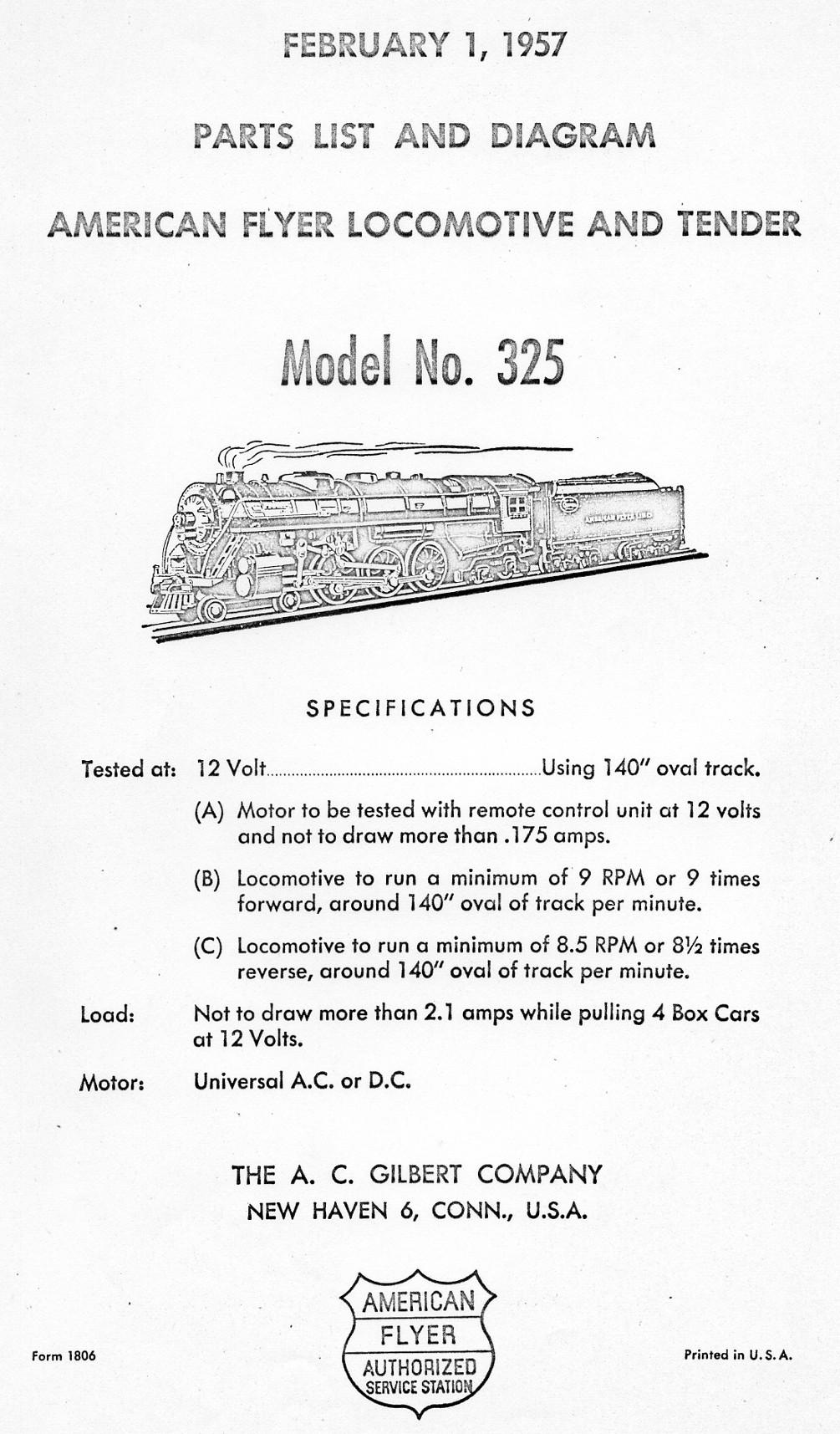 American Flyer Locomotive 325 & K325 Parts List & Diagram Parts List and Diagram - Page 1