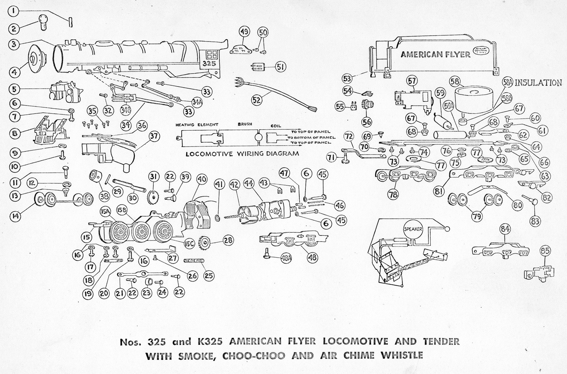 american flyer locomotive 325  325ac  u0026 k325 parts list  u0026 diagram