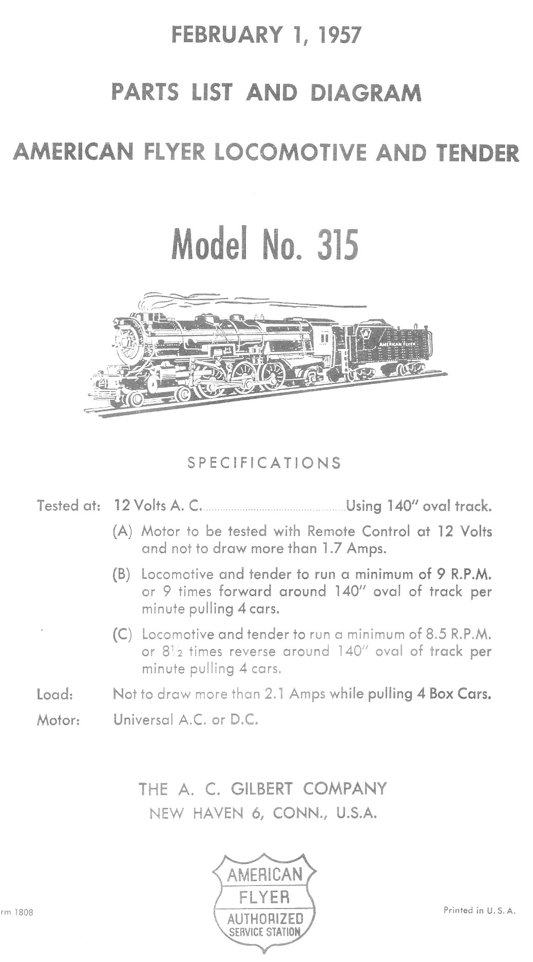 American Flyer Locomotive & Tender 315 Parts List and Diagram - Page 1