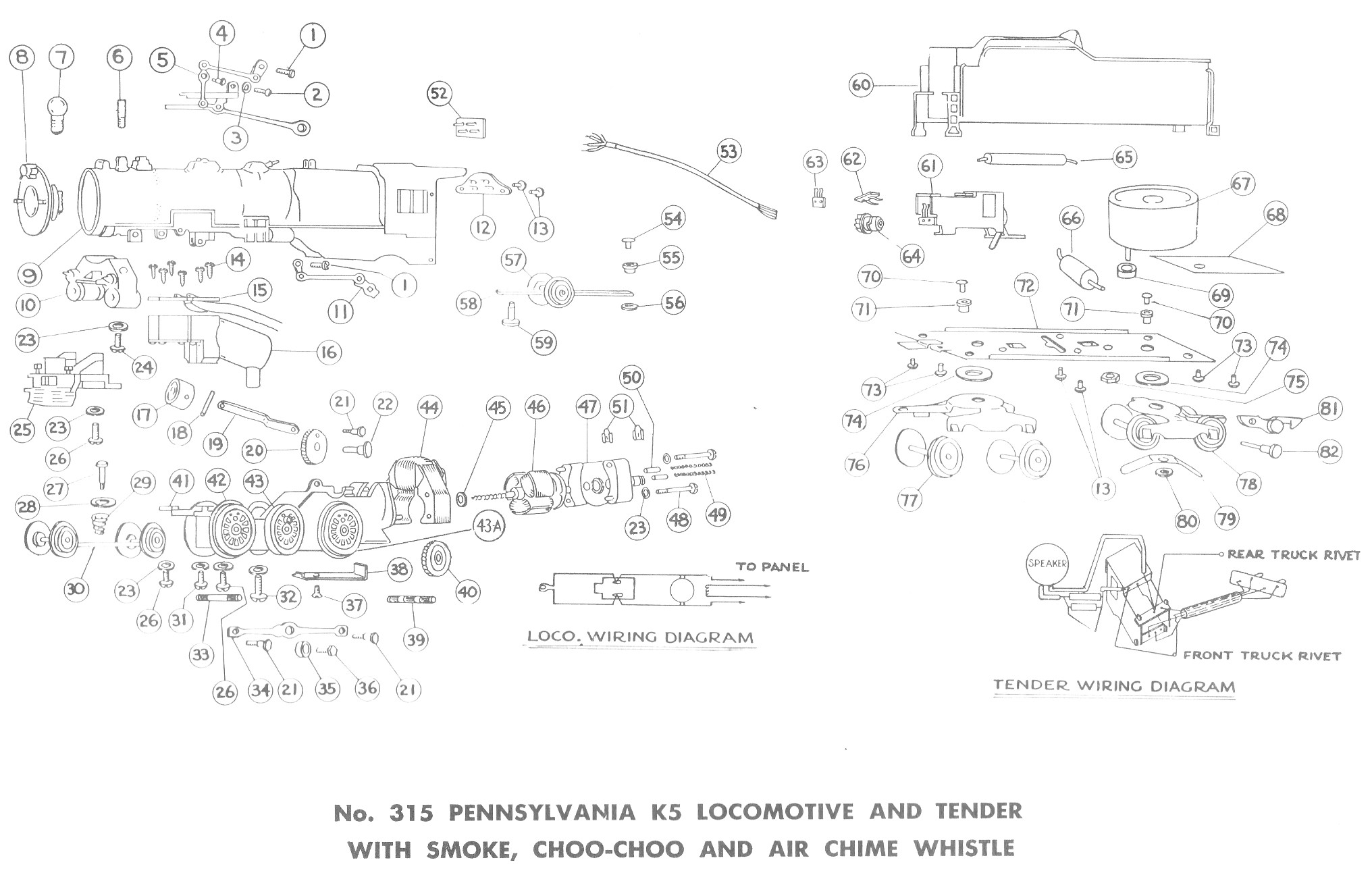 American Flyer Locomotive & Tender 315 Parts List and Diagram - Page 2