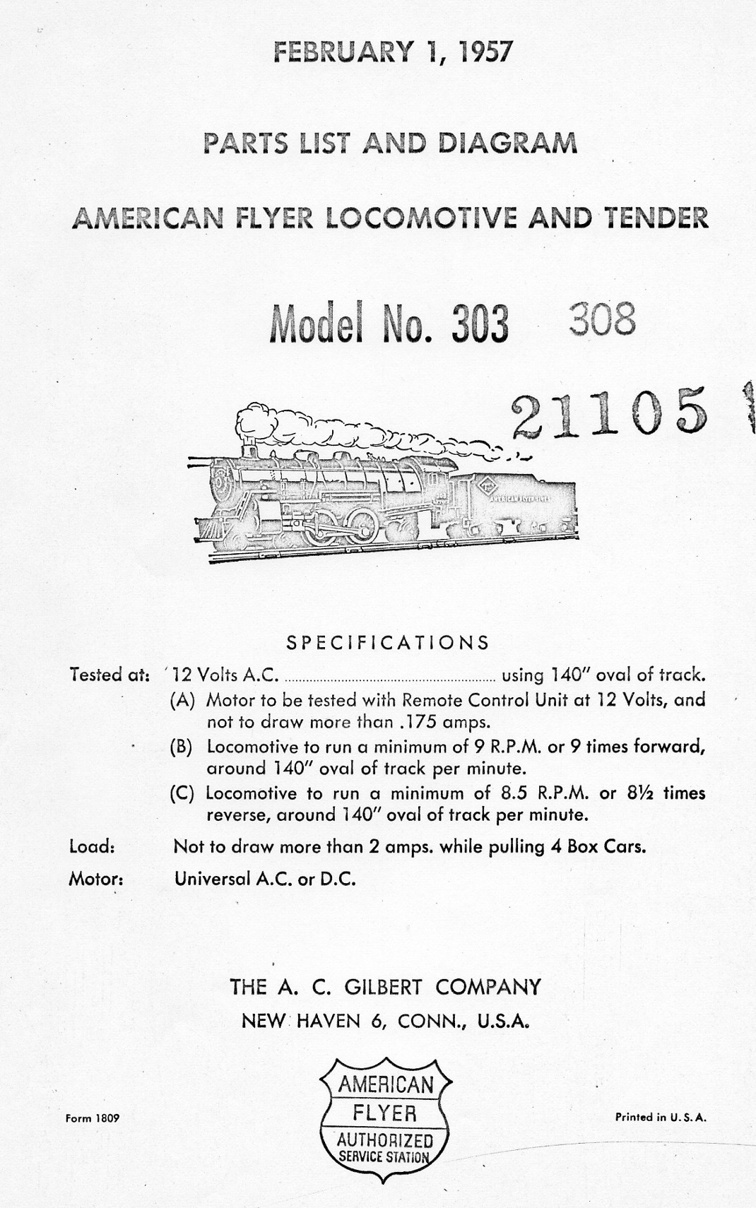 American Flyer Transformer 308 Parts List and Diagram - Page 1