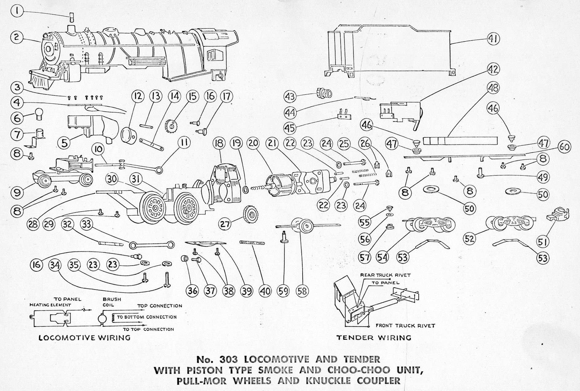 American Flyer Locomotive 303 Parts List and Diagram TrainDR
