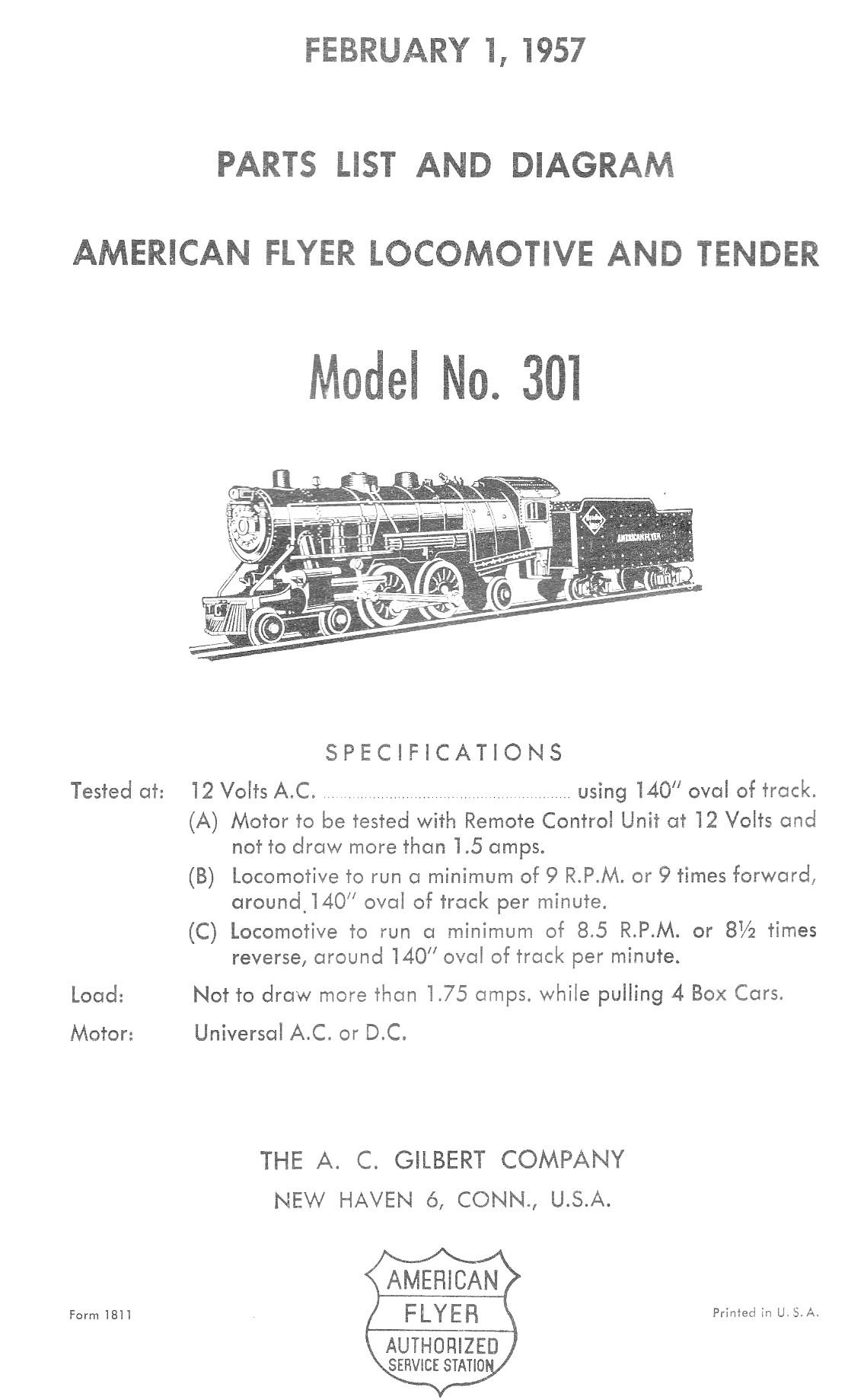 American Flyer Locomotive 301 Parts List and Diagram - Page 1
