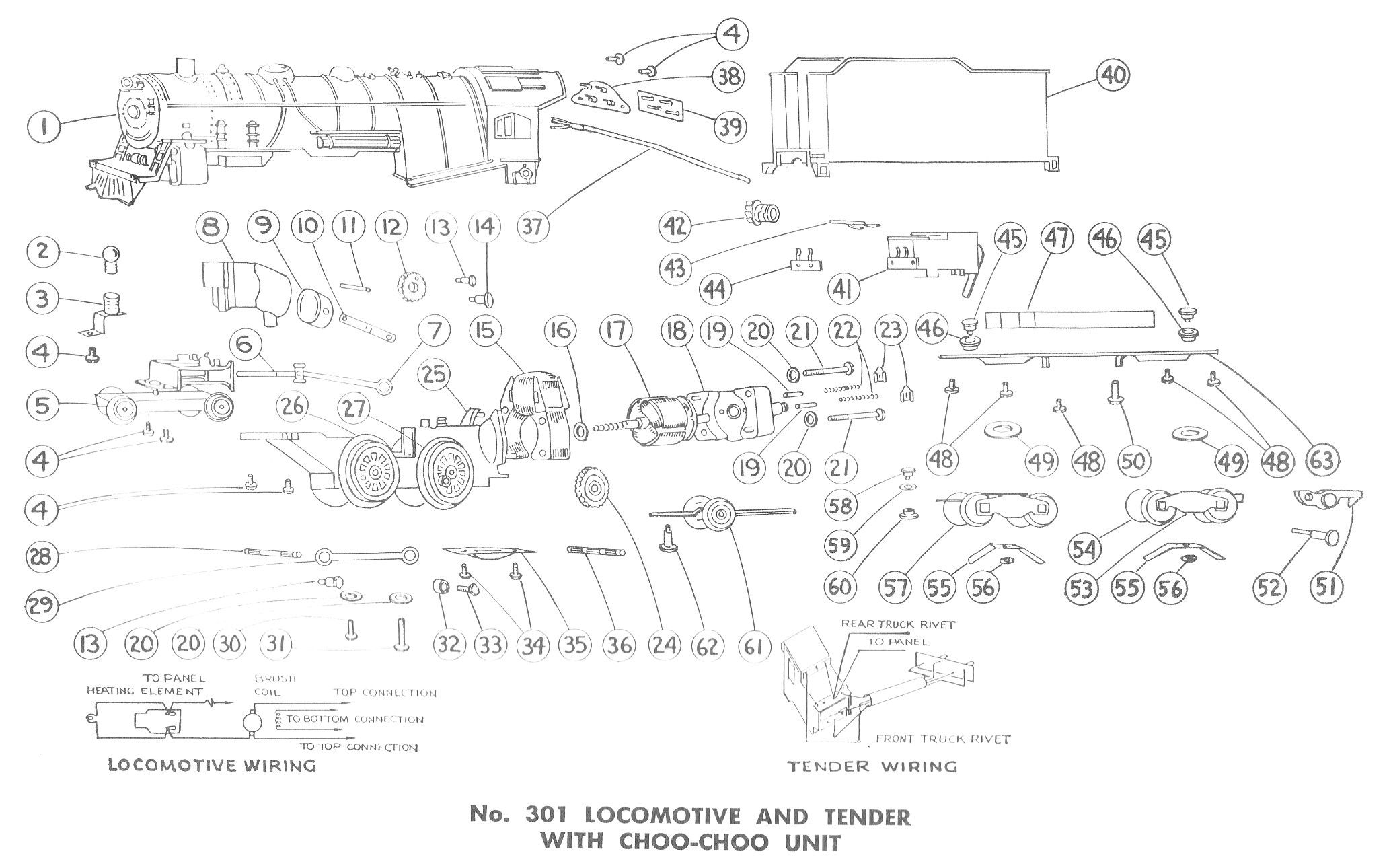 American Flyer Locomotive 301 Parts List  U0026 Diagram
