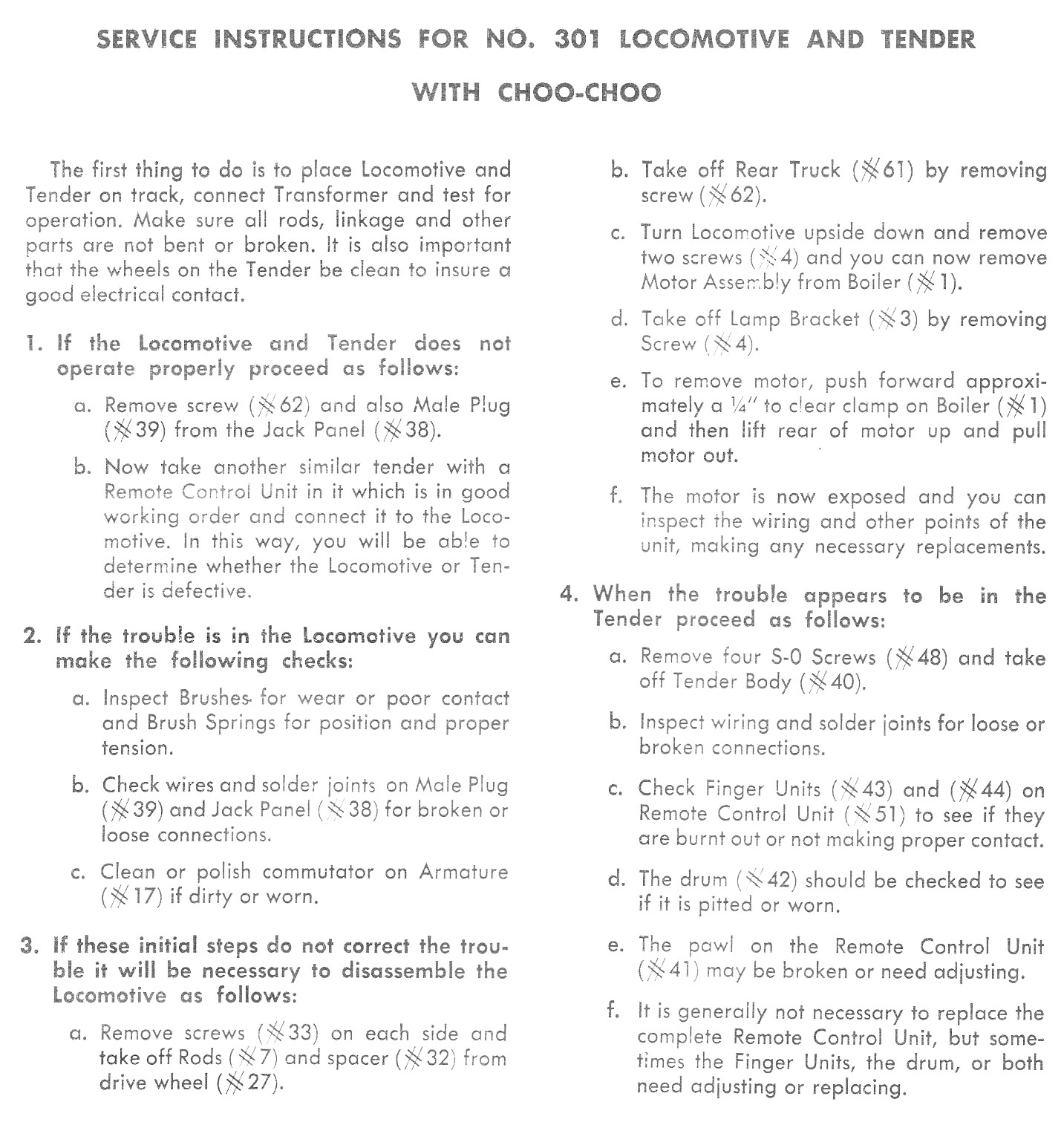 Service Instructions for No. 301 Locomotive and Tender with Choo-Choo