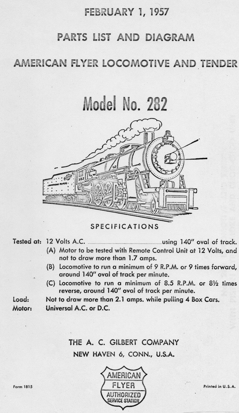 American Flyer Locomotive 282 Chicago North Western Parts List and Diagram - Page 1