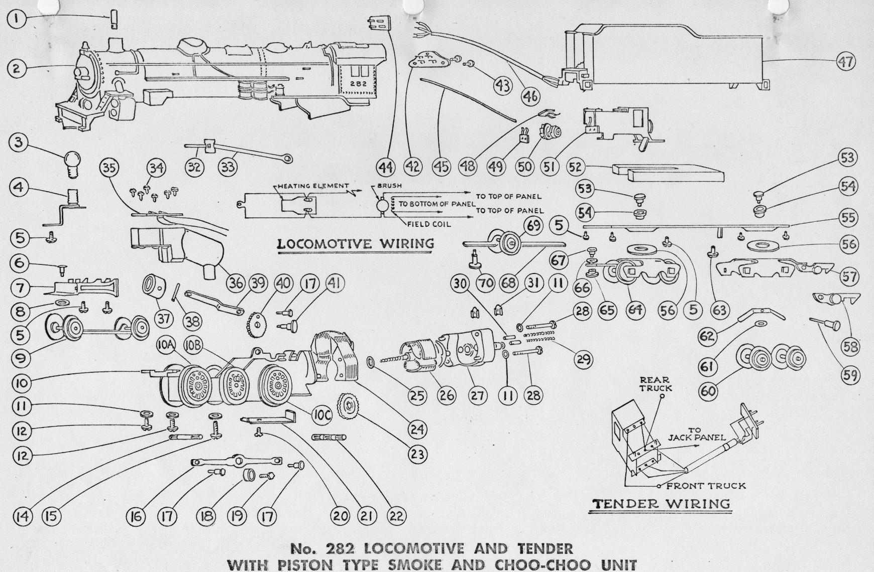 american flyer locomotive 282 chicago north western parts list  u0026 diagram