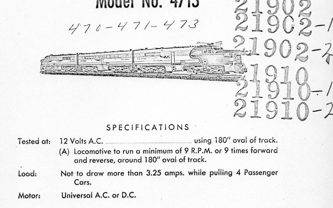 American Flyer Locomotive 4713 Parts List & Diagram