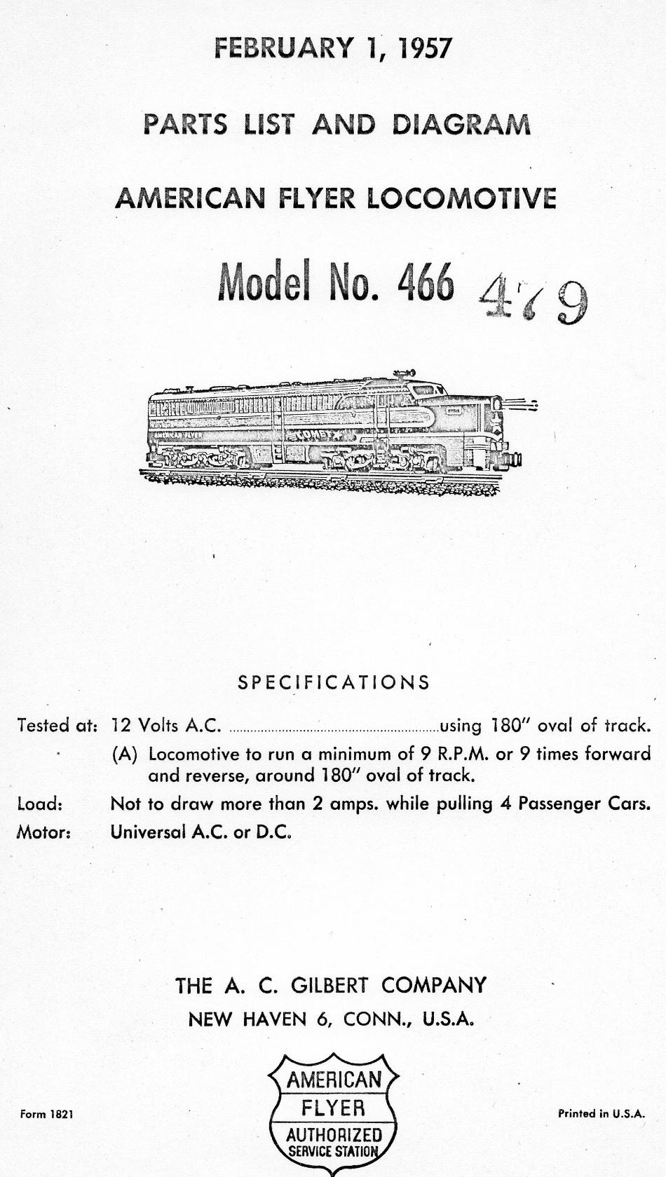 American Flyer Locomotive & Tender 466 Parts List & Diagram - Page 1
