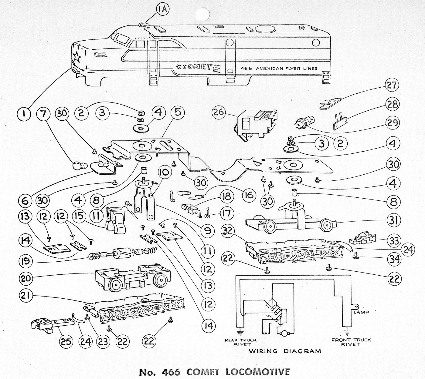 american flyer locomotive 466 parts list  u0026 diagram