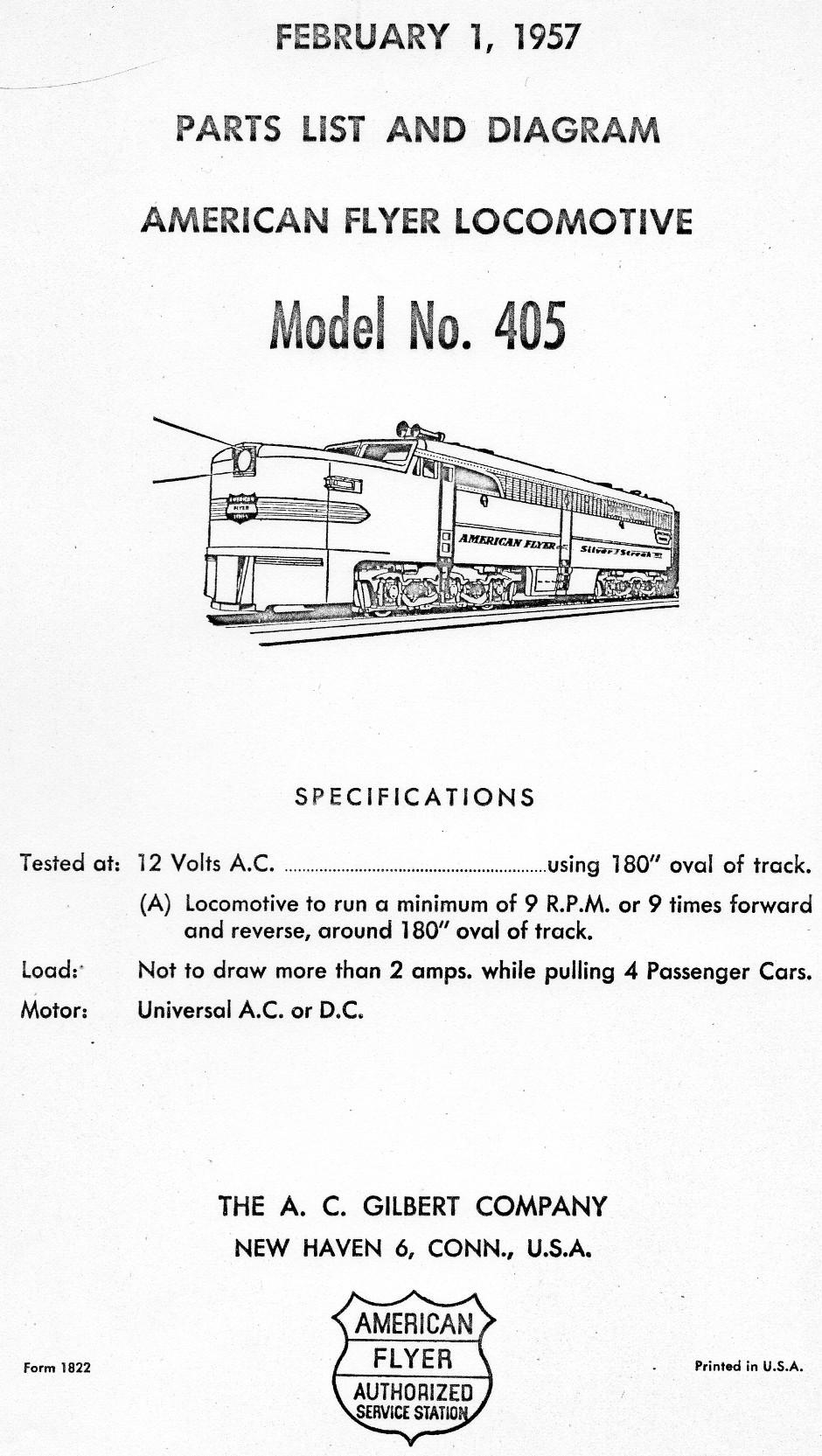American Flyer Locomotive 405 Parts List & Diagram - Page 1