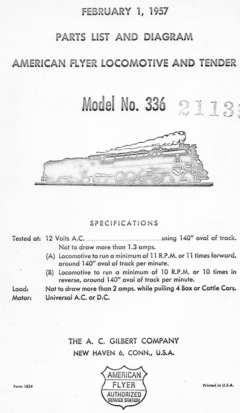 American Flyer Locomotive & Tender 336 Parts List and Diagram - Page 1