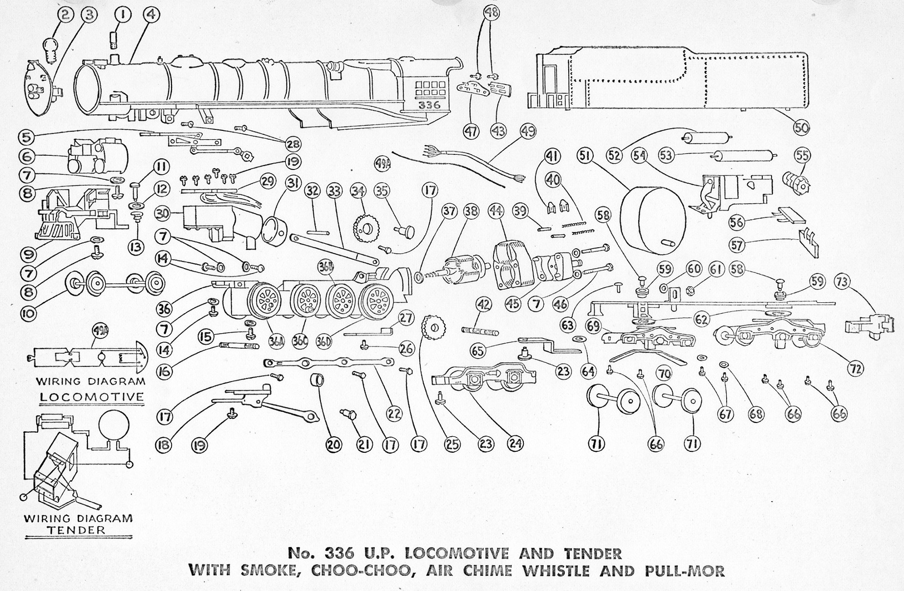 American Flyer Locomotive & Tender 336 Parts List and Diagram - Page 2