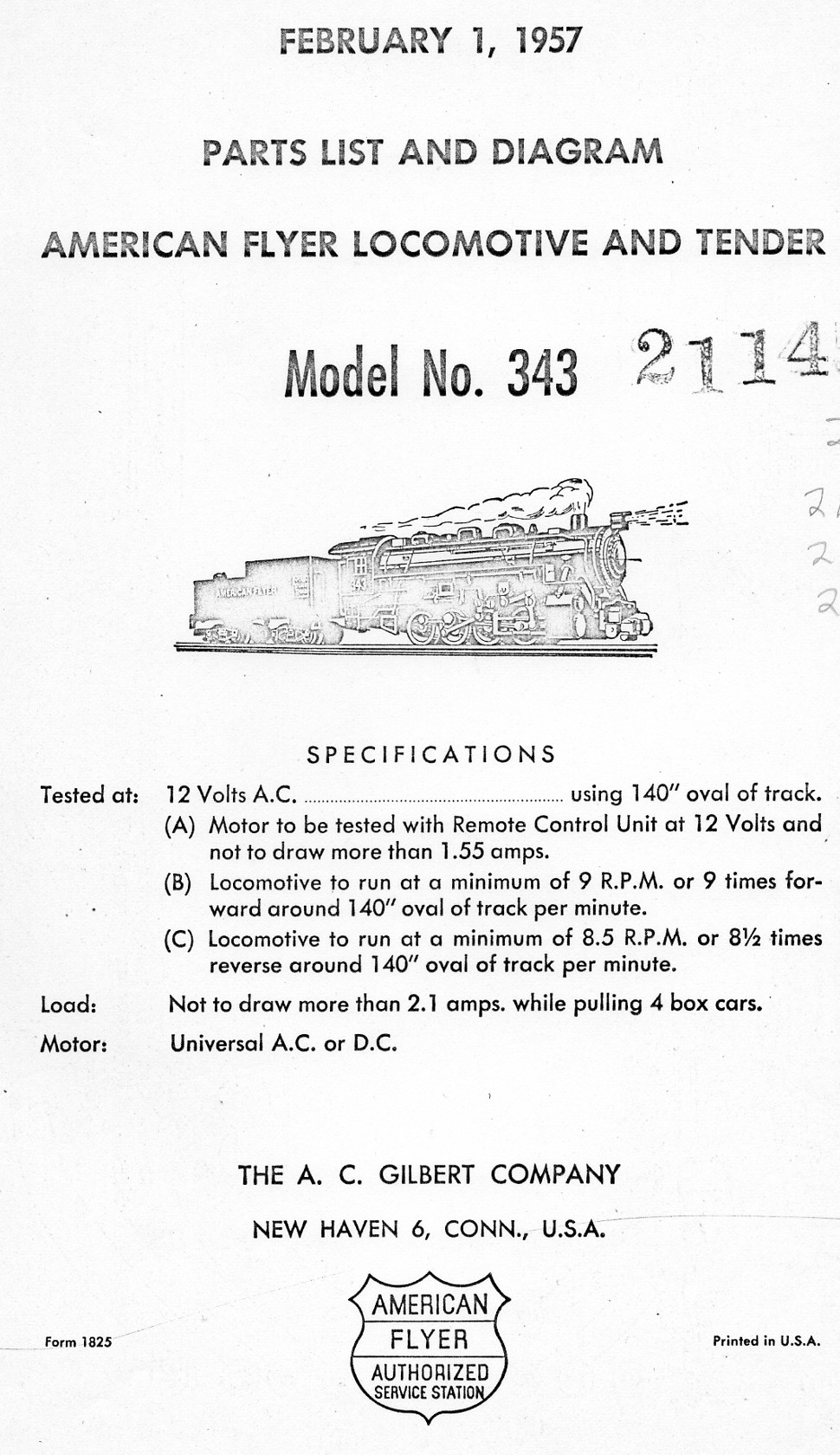American Flyer Locomotive & Tender 343 Parts List & Diagram - Page 1