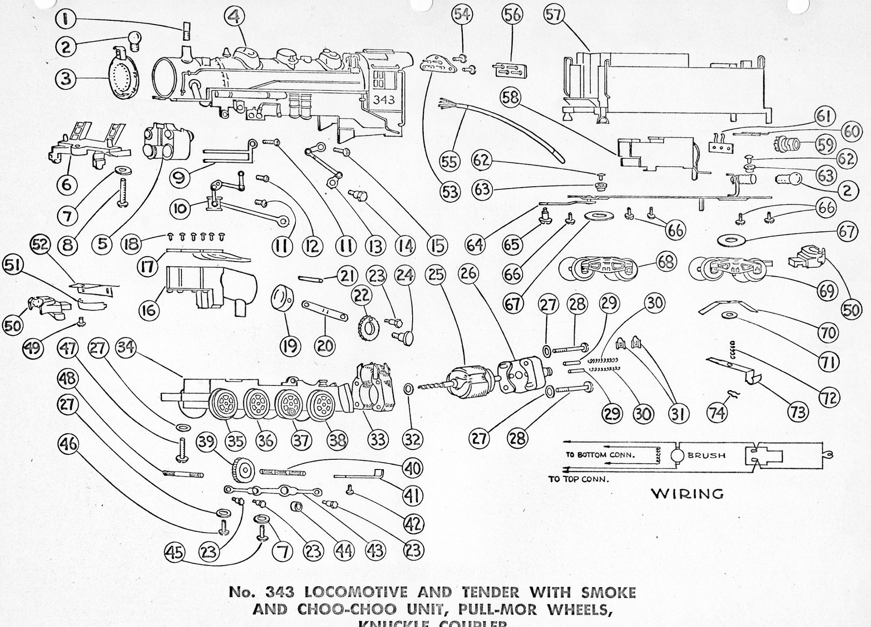 american flyer locomotive 343 parts list  u0026 diagram