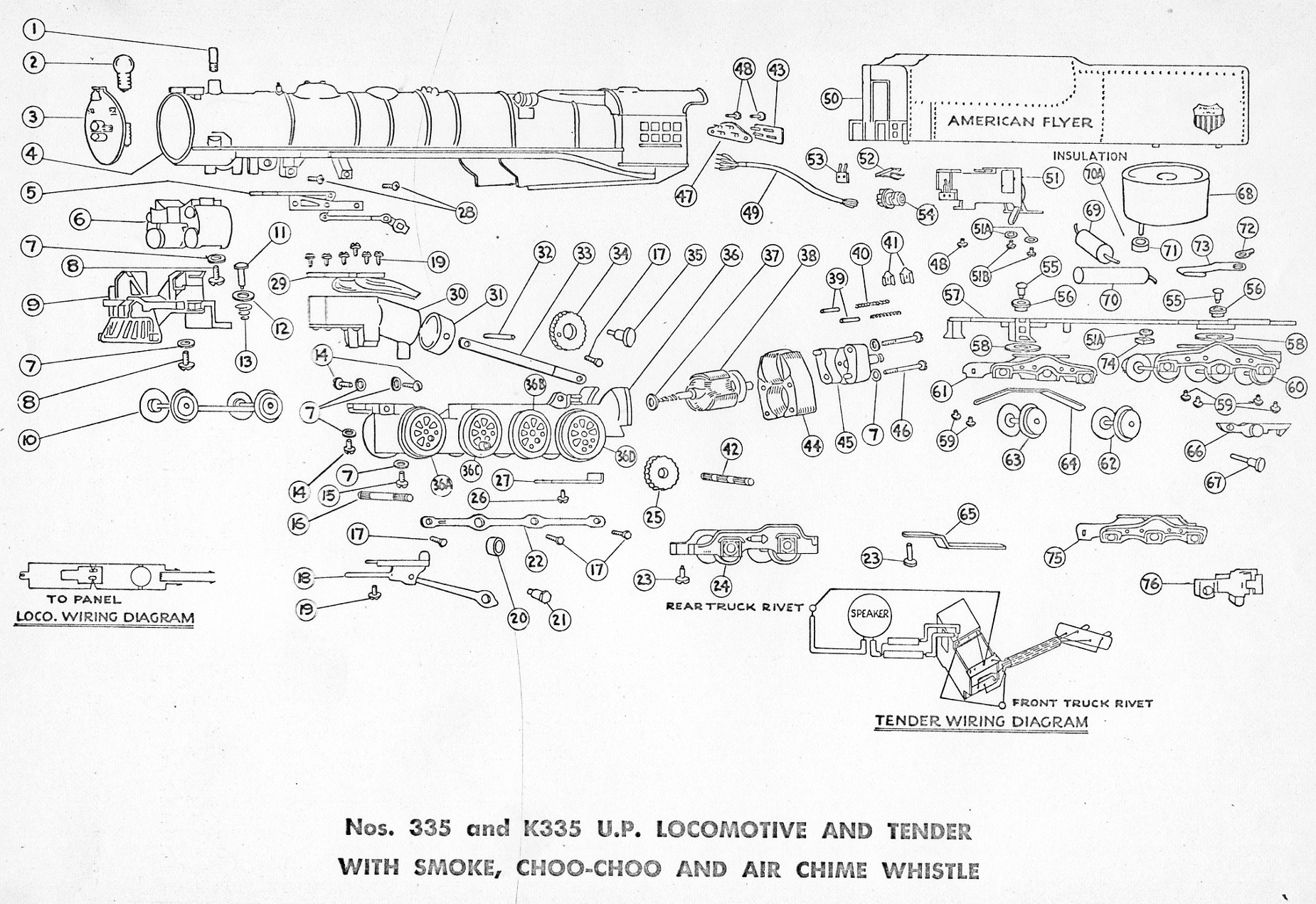 american flyer locomotive 335  u0026 k335 parts list and diagram