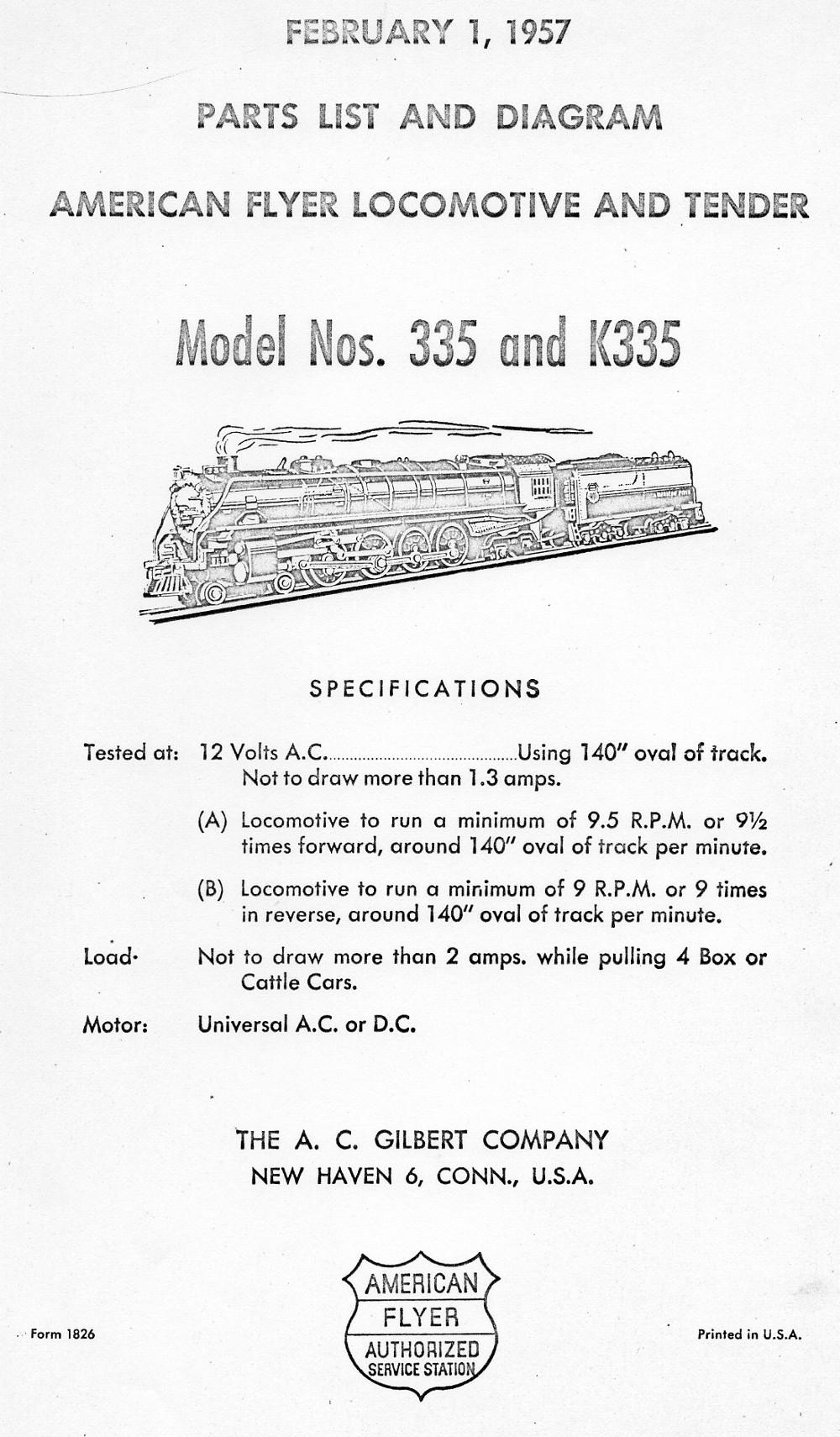 American Flyer Locomotive and Tender 335 & K335 Parts List and Diagram - Page 1