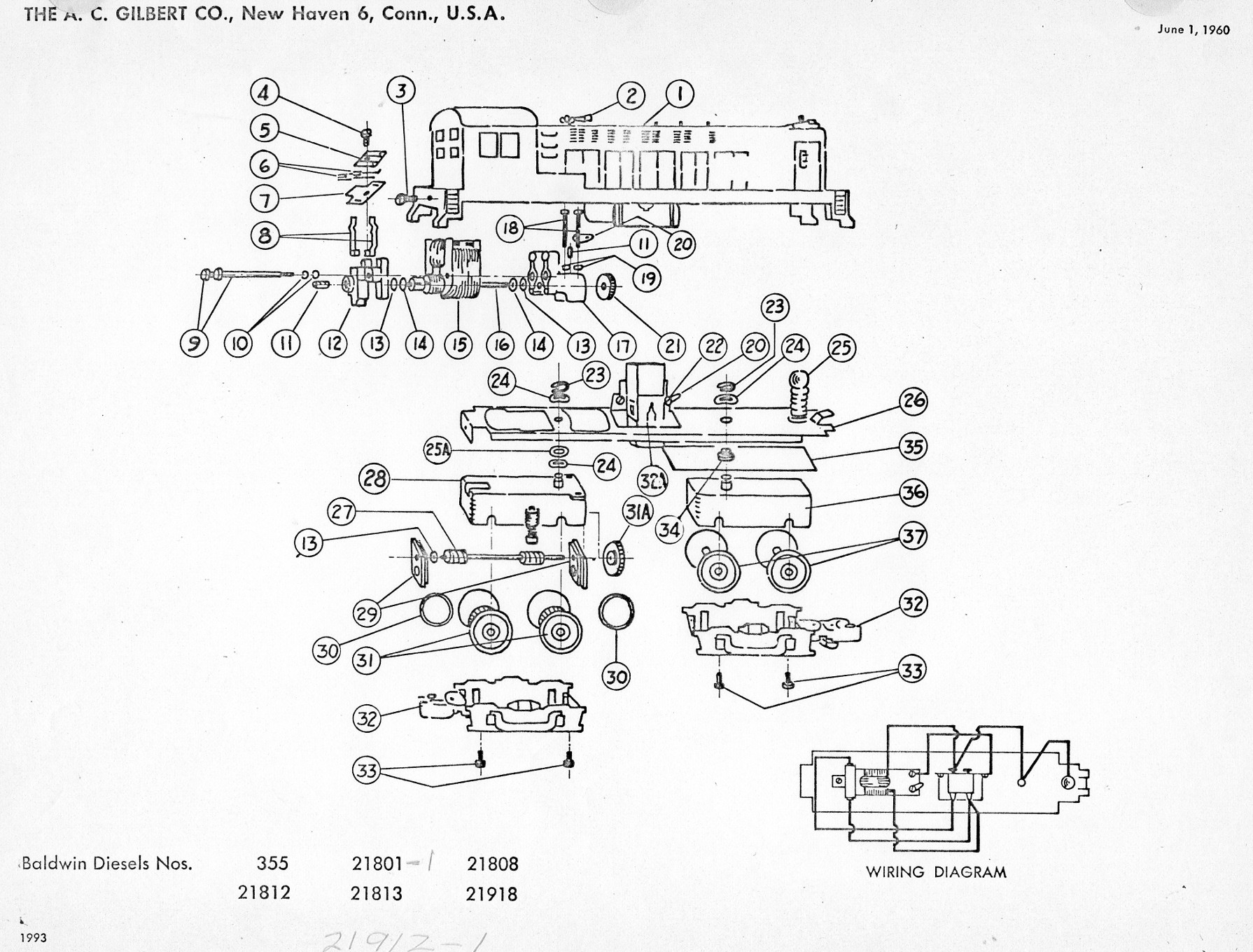 american flyer locomotive baldwin diesels parts list  u0026 diagram