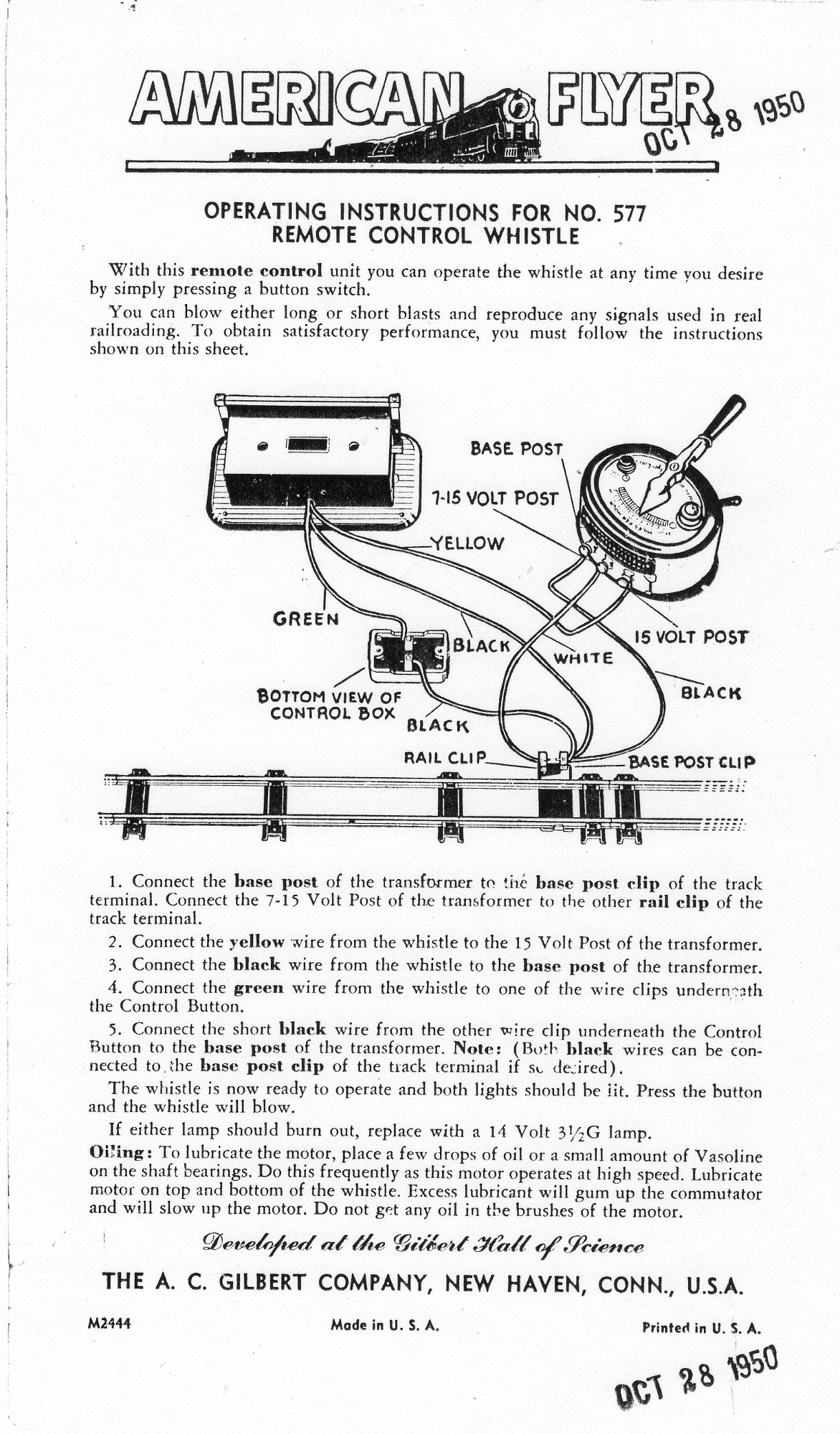 American Flyer Remote Control Whistle 577 Operating Instructions